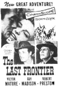 "Newspaper ad for ""The Last Frontier""."