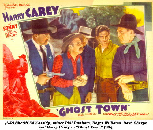 "(L-R) Sheriff Ed Cassidy, miner Phil Dunham, Roger Williams, Dave Sharpe and Harry Carey in ""Ghost Town"" ('36)."