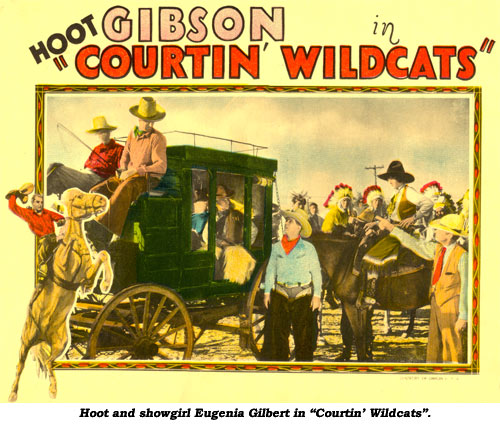 "Hoot and showgirl Eugenia Gilbert in ""Courtin' Wildcats""."