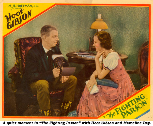 "A quiet moment in ""The Fighting Parson"" with Hoot Gibson and Marceline Day."