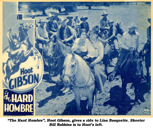 """The Hard Hombre"", Hoot Gibson, gives a ride to Lina Basquette. Skeeter Bill Robbins is to Hoot's left."