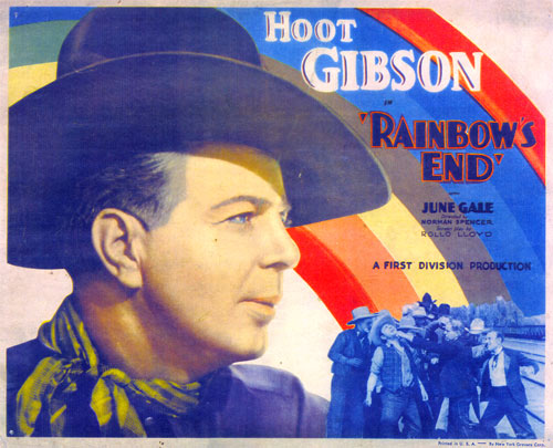 "Title Card for Hoot Gibson in ""Rainbow's End""."