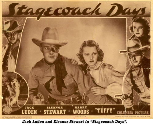 "Jack Luden and Eleanor Stewart in ""Stagecoach Days""."