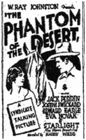 "Ad for ""Phantom of the Desert""."