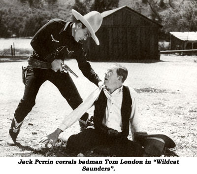 "Jack Perrin corrals badman Tom London in ""Wildcat Saunders""."
