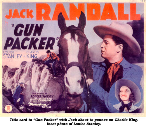 "Title card to ""Gun Packer"" with Jack about to pounce on Charlie King. Inset photo of Louise Stanley."