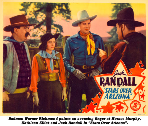 "Badman Warner Richmond points an accusing finger at Horace Murphy, Kathleen Elliot and Jack Randall in ""Stars Over Arizona""."