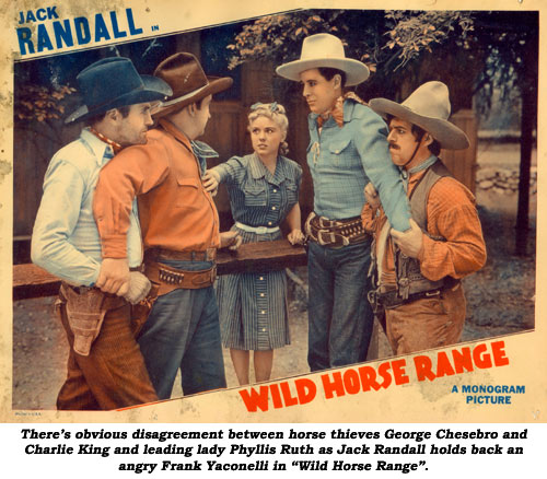 "There's Obvious disagreement between horse thieves George Chesebro and Charlie King and leading lady Phyllis Ruth as Jack Randall holds back an angry Frank Yaconelli in ""Wild Horse Range""."