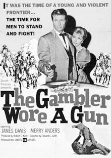 "Movie poster for ""The Gambler Wore a Gun"" starring Jim Davis."