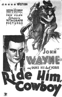 "Newspaper ad for ""Ride Him Cowboy"" starring John Wayne."