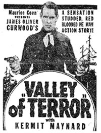 "Kermit Maynard in ""Valley of Terror"" ad."