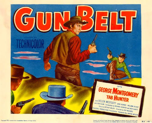 "Title card for ""Gun Belt"" starring George Montgomery."
