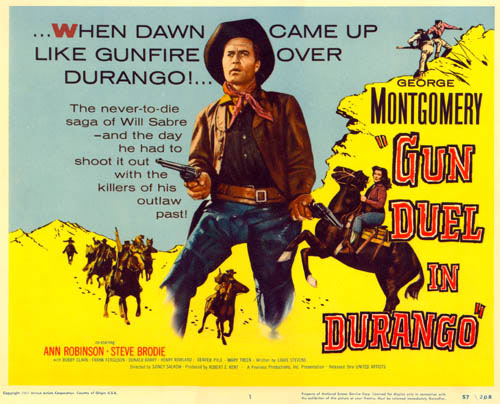 "Title card for ""Gun Duel in Durango"" starring George Montgomery."