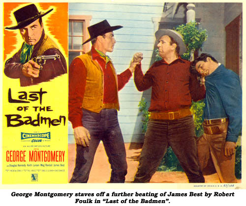 "George Montgomery staves off a further beating of James Best by Robert Foulk in ""Last of the Badmen""."
