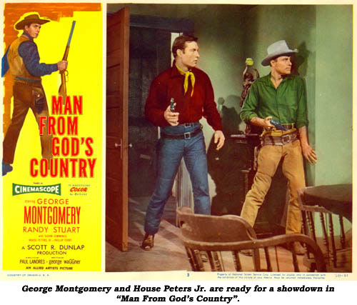 "George Montgomery and House Peters Jr. are ready for a showdown in ""Man From God's Country""."