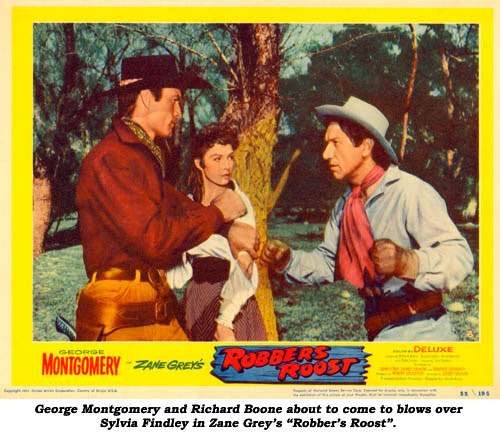 "George Montgomery and Richard Boone about to come to blows over Sylvia Findley in Zane Grey's ""Robber's Roost""."