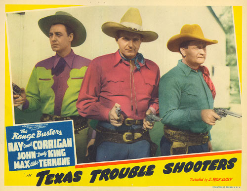 "Lobby card from ""Texas Trouble Shooters""."