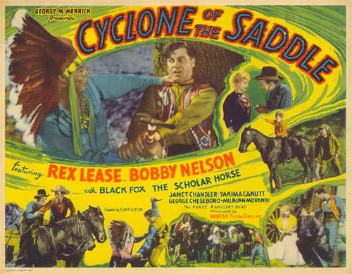 "Title Card for ""Cyclone of the Saddle"" starring Rex Lease."