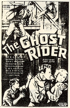 "Newspaper ad for ""The Ghost Rider"" starring Rex Lease."