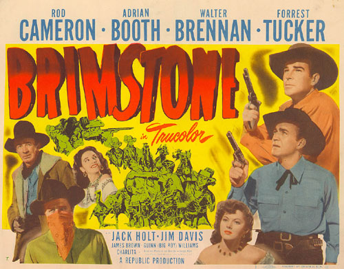 "Title Card for Rod Cameron's ""Brimstone""."