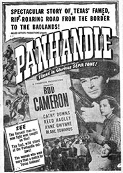 "Newspaper ad for Rod Cameron's ""Panhandle""."