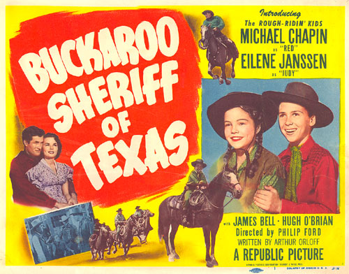 "Title Card from ""Buckaroo Sheriff of Texas"" starring Michael Chapin and Eilene Janssen."