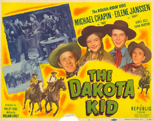 "Title card from ""The Dakota Kid"" starring Michael Chapin and Eilene Janssen."