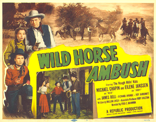 "Title Card for ""Wild Horse Ambush"" starring the Rough Ridin' Kids--Michael Chapin and Eilene Janssen."