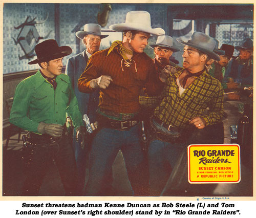 "Sunset threatens badman Kenne Duncan as Bob Steele (L) and Tom London (over Sunset's right shoulder) stand by in ""Rio Grande Raiders""."