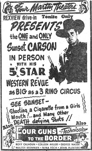 Sunset Carson personal appearance poster.