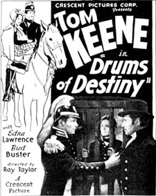 "Newspaper ad for Tom Keene in ""Drums of Destiny""."