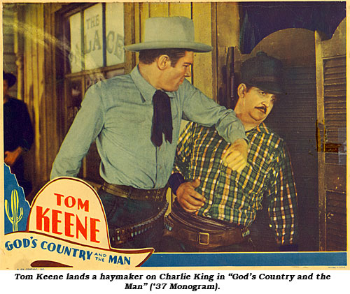 "Tom Keene lands a haymaker on Charlie King in ""God's Country and the Man"" ('37 Monogram)."