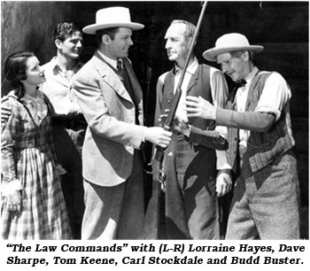 """The Law Commands"" with (L-R) Lorraine Hayes, Dave Sharpe, Tom Keene, Carl Stockdale and Budd Buster."