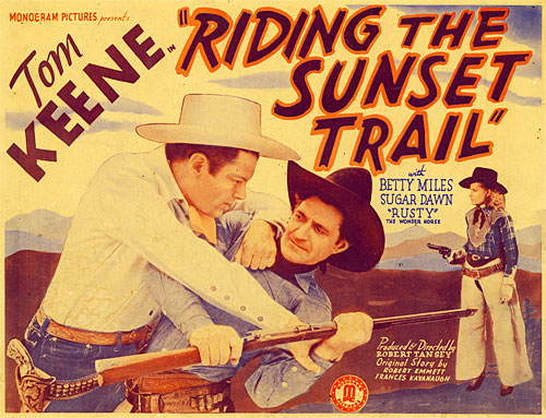 "Title card for Tom Keene in ""Riding the Sunset Trail"""