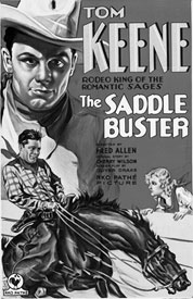 "Movie poster for ""The Saddle Buster"" starring Tom Keene."