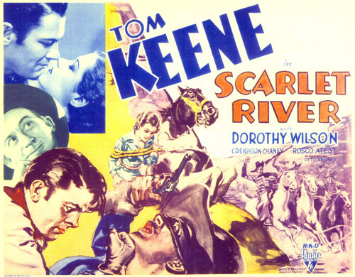 "Title card for Tom Keene in ""Scarlet River""."