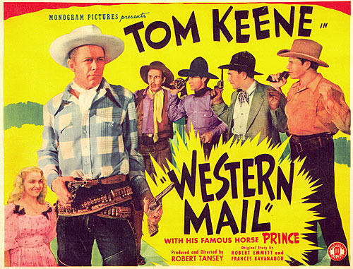 "Title card for ""Western Mail"" starring Tom Keene."