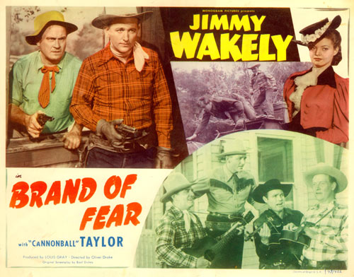 "Title card for ""Brand of Fear"" starring Jimmy Wakely."