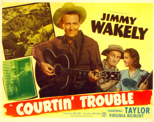 "Title card for ""Courtin' Trouble"" starring Jimmy Wakely."