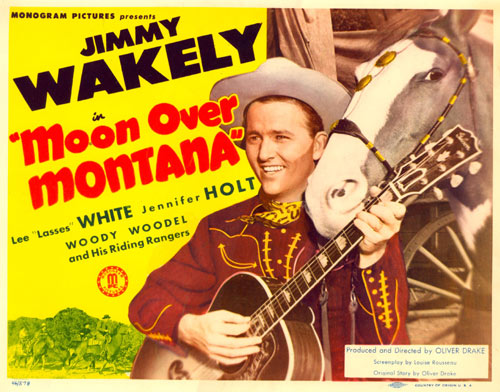 "Title card for ""Moon Over Montana"" starring Jimmy Wakely."
