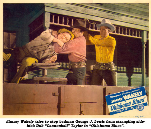 "Jimmy Wakely tries to stop badman George J. Lewis from strangling sidekick Dub ""Cannonball"" Taylor in ""Oklahoma Blues""."