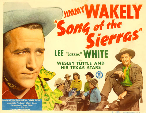 "Title card for ""Song of the Sierras"" starring Jimmy Wakely."