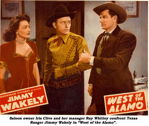 "Saloon owner Iris Clive and her manager Ray Whitley confront Texas Ranger Jimmy Wakely in ""West of the Alamo""."