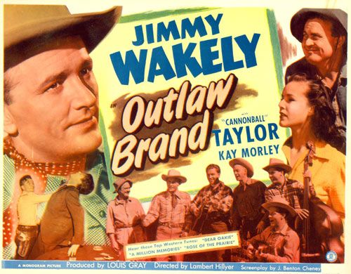 "Title card for ""Outlaw Brand"" starring Jimmy Wakely."