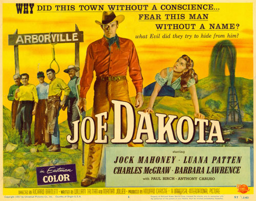 "Title card for ""Joe Dakota"" starring Jock Mahoney."