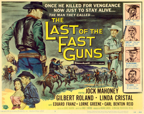 "Poster for ""The Last of the Fast Guns"" starring Jock Mahoney."