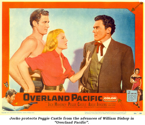 "Jocko protects Peggie Castle from the advances of William Bishop in ""Overland Pacific""."