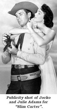 "Publicity shot of Jocko and Julie Adams for ""Slim Carter""."